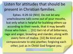 listen for attitudes that should be present in christian families