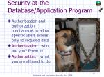 security at the database application program