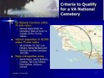 criteria to qualify for a va national cemetery