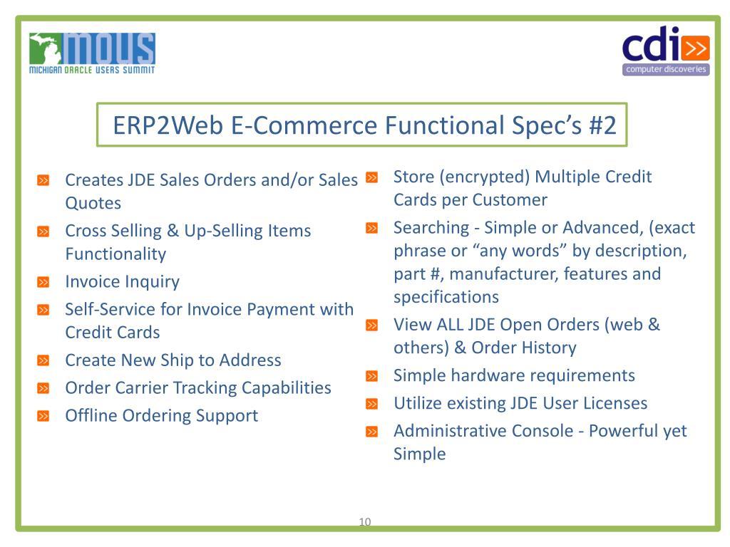 ERP2Web E-Commerce Functional Spec's #2