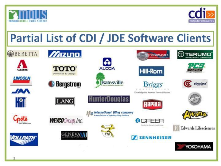 Partial list of cdi jde software clients