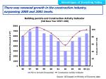 there was renewed growth in the construction industry surpassing 2000 and 2001 levels