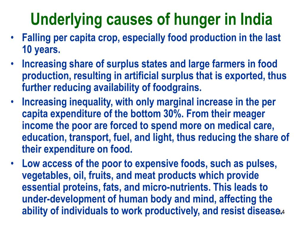 Underlying causes of hunger in India