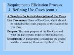 requirements elicitation process 4 refining use cases cont