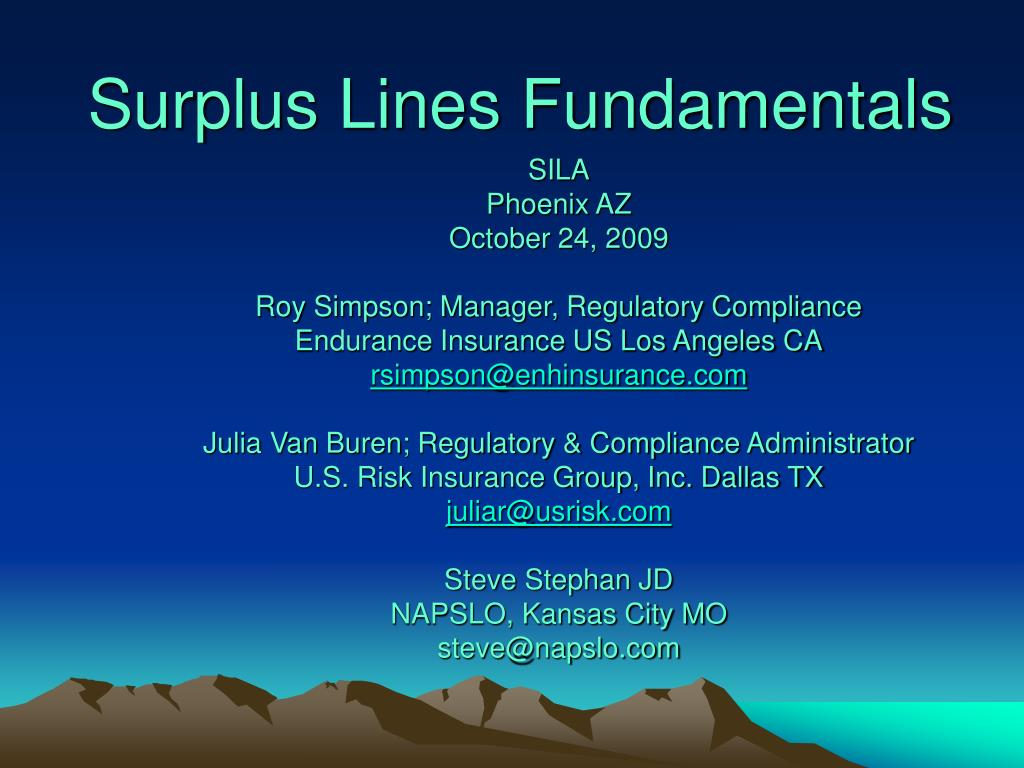 surplus lines fundamentals l.