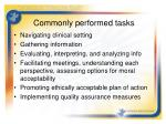 commonly performed tasks