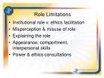 role limitations