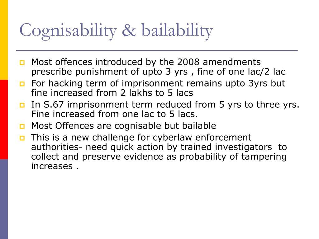 Cognisability & bailability
