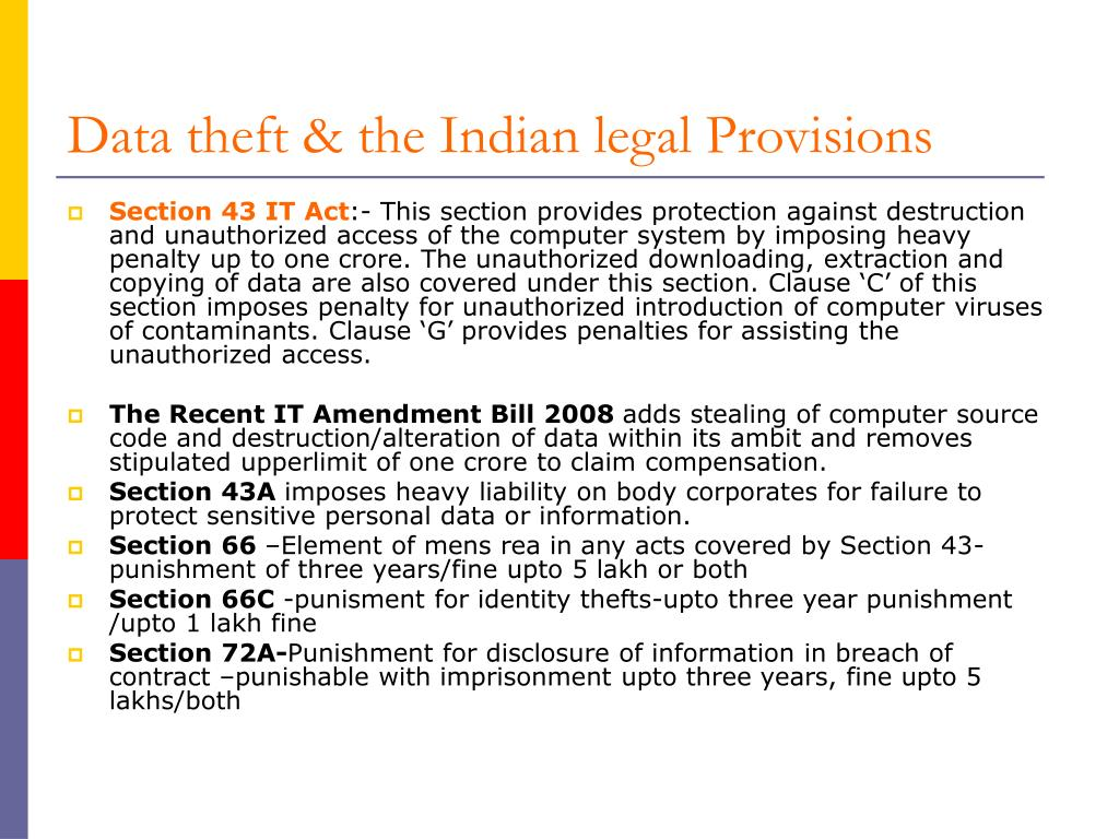 Data theft & the Indian legal Provisions