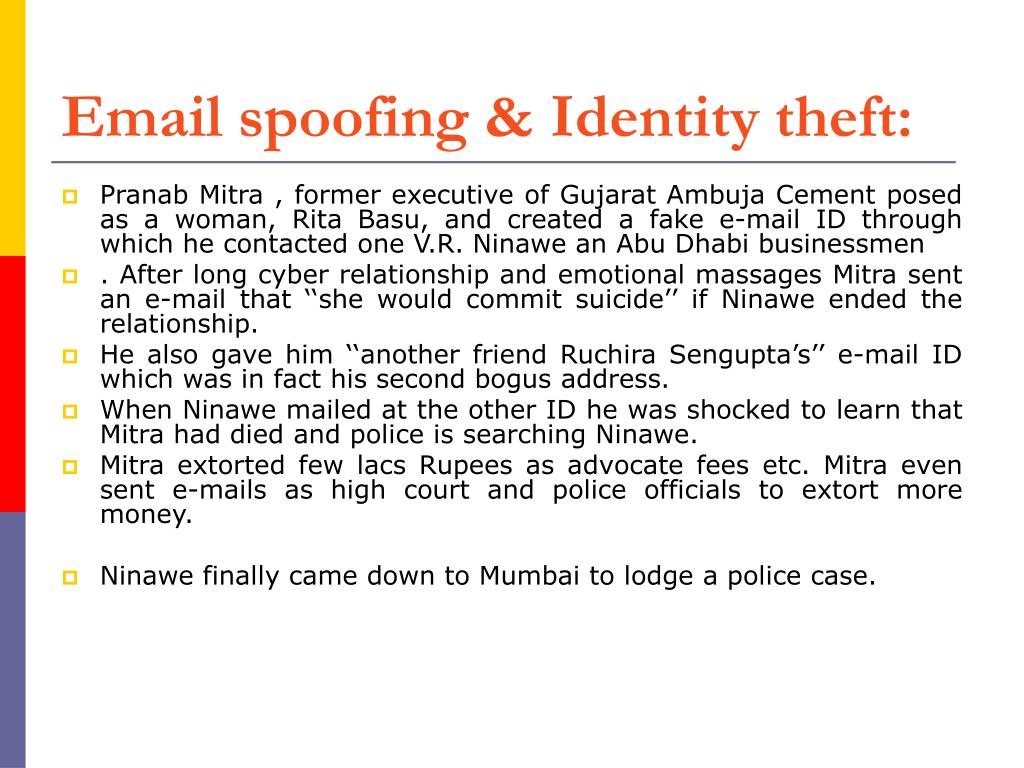 Email spoofing & Identity theft: