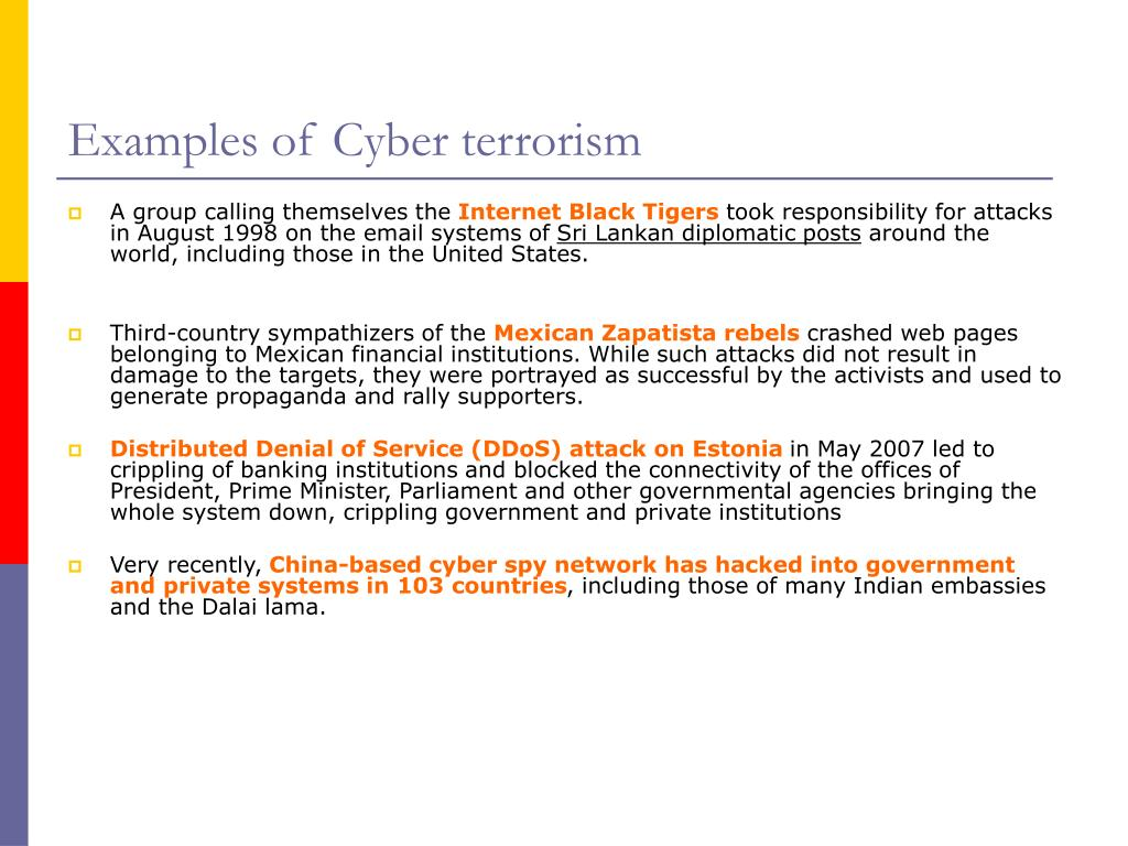 Examples of Cyber terrorism