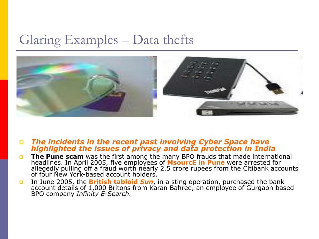 Glaring Examples – Data thefts