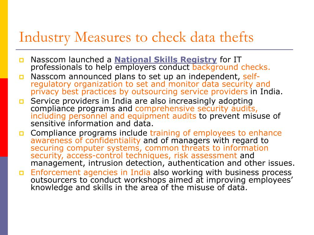 Industry Measures to check data thefts