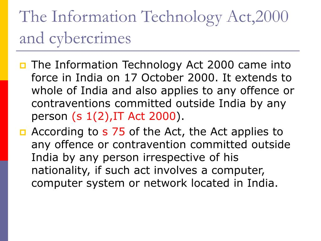 The Information Technology Act,2000 and cybercrimes