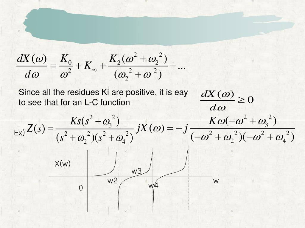 Since all the residues Ki are positive, it is eay to see that for an L-C function