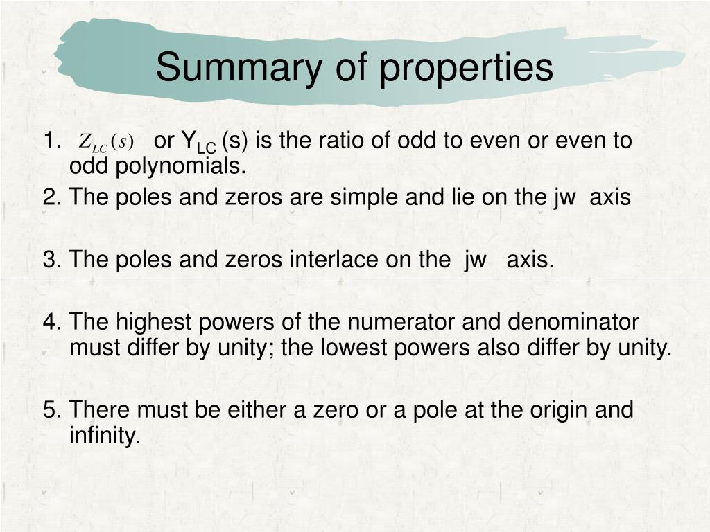 Summary of properties