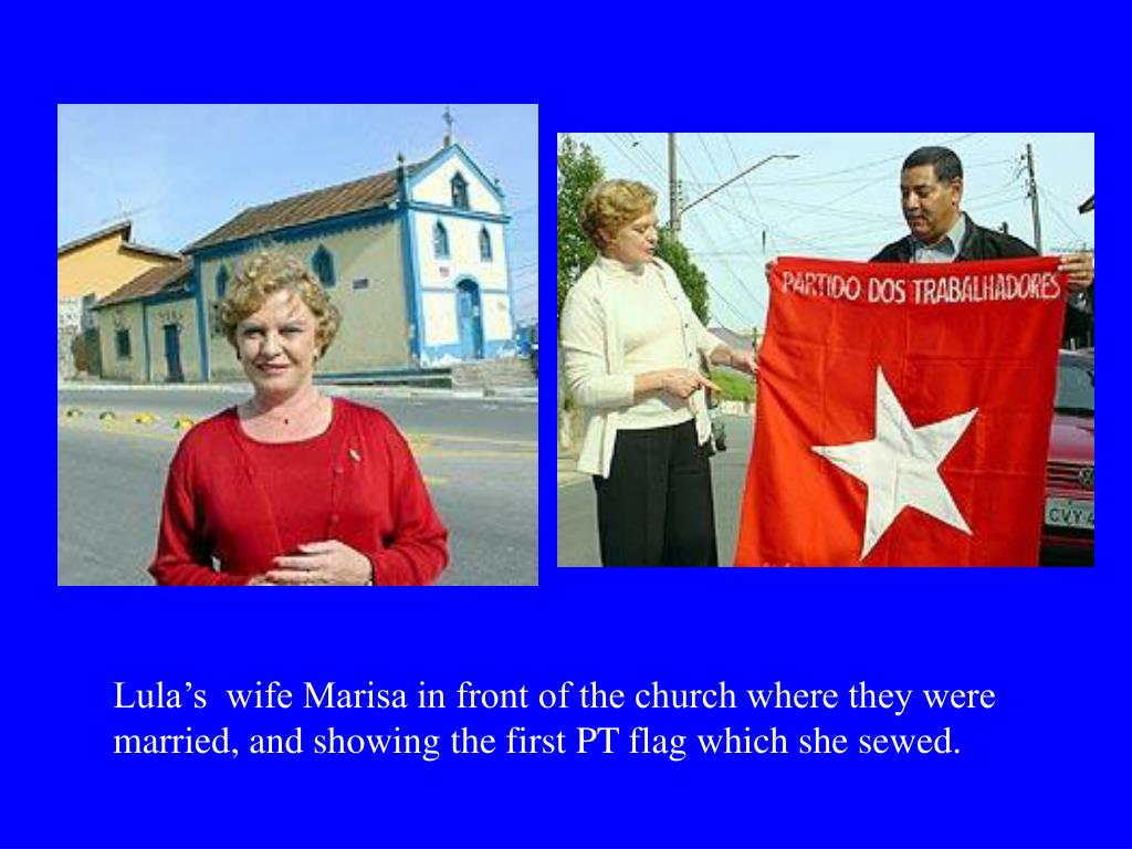 Lula's  wife Marisa in front of the church where they were