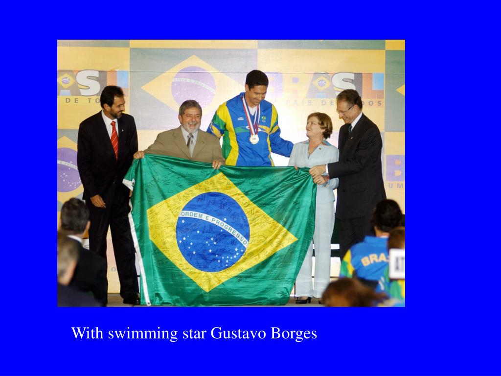 With swimming star Gustavo Borges