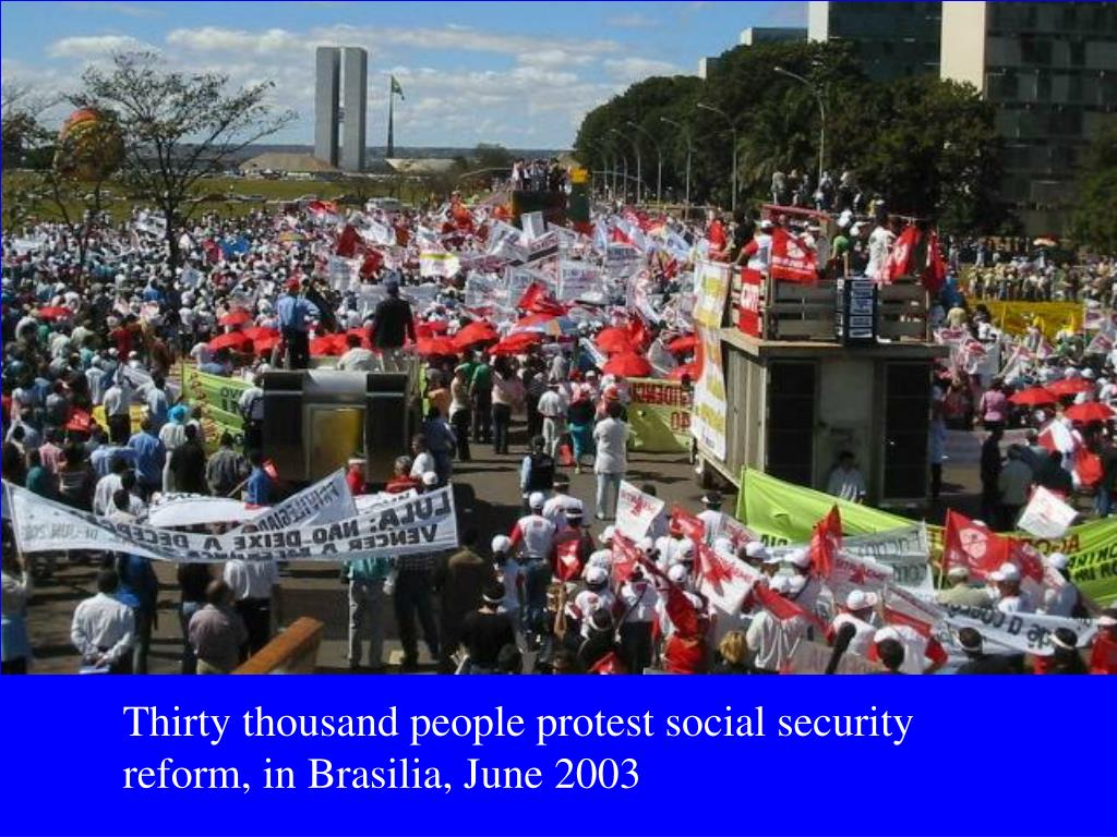 Thirty thousand people protest social security reform, in Brasilia, June 2003