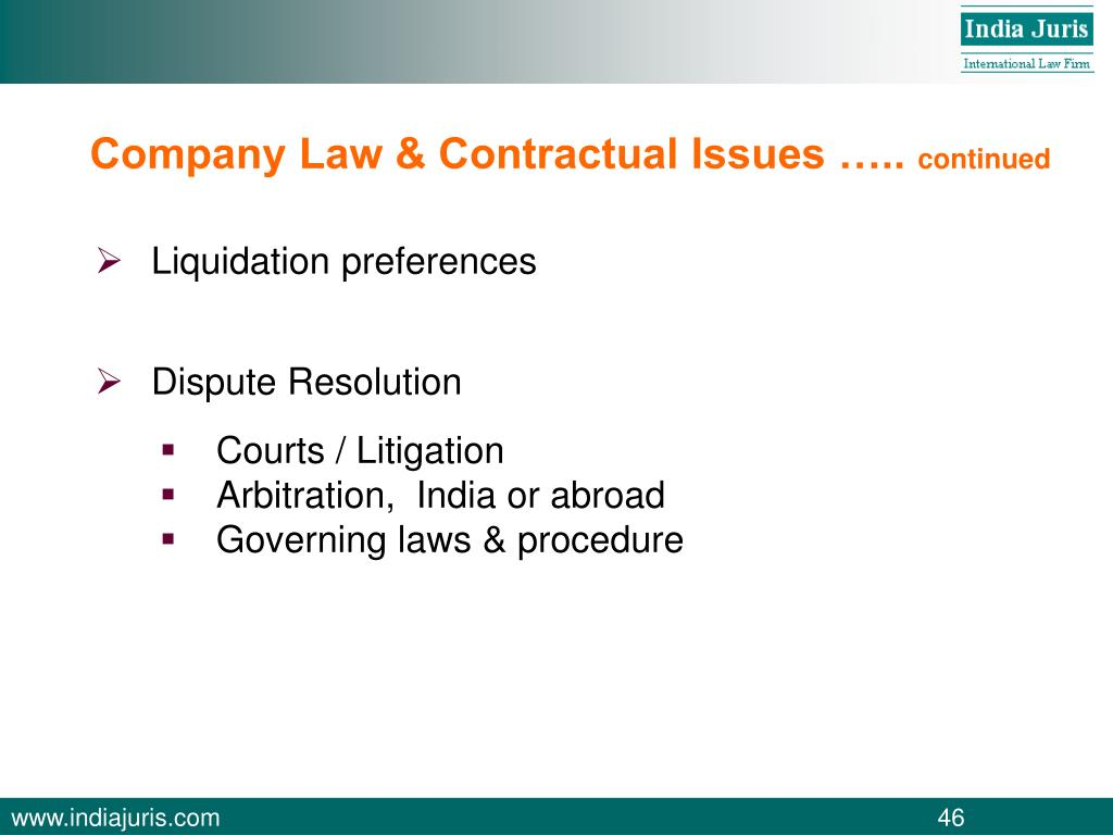 Company Law & Contractual Issues …..