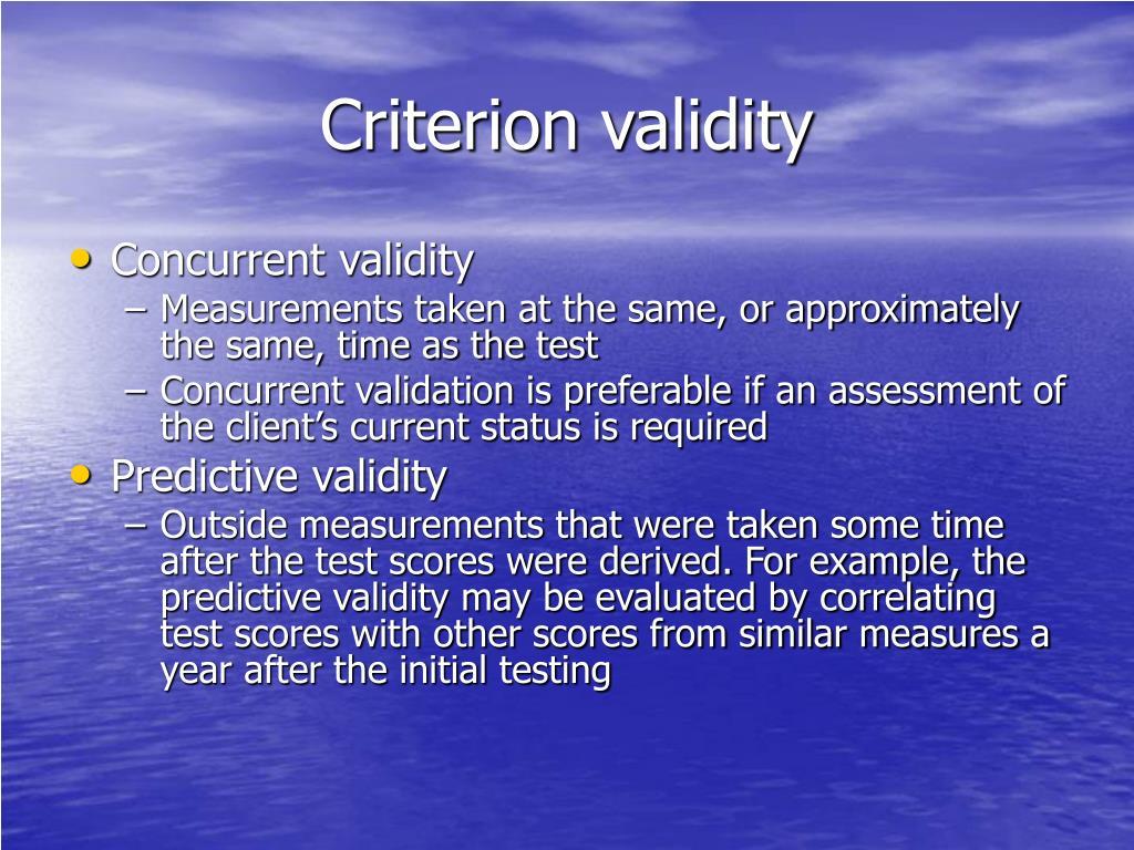 Criterion validity