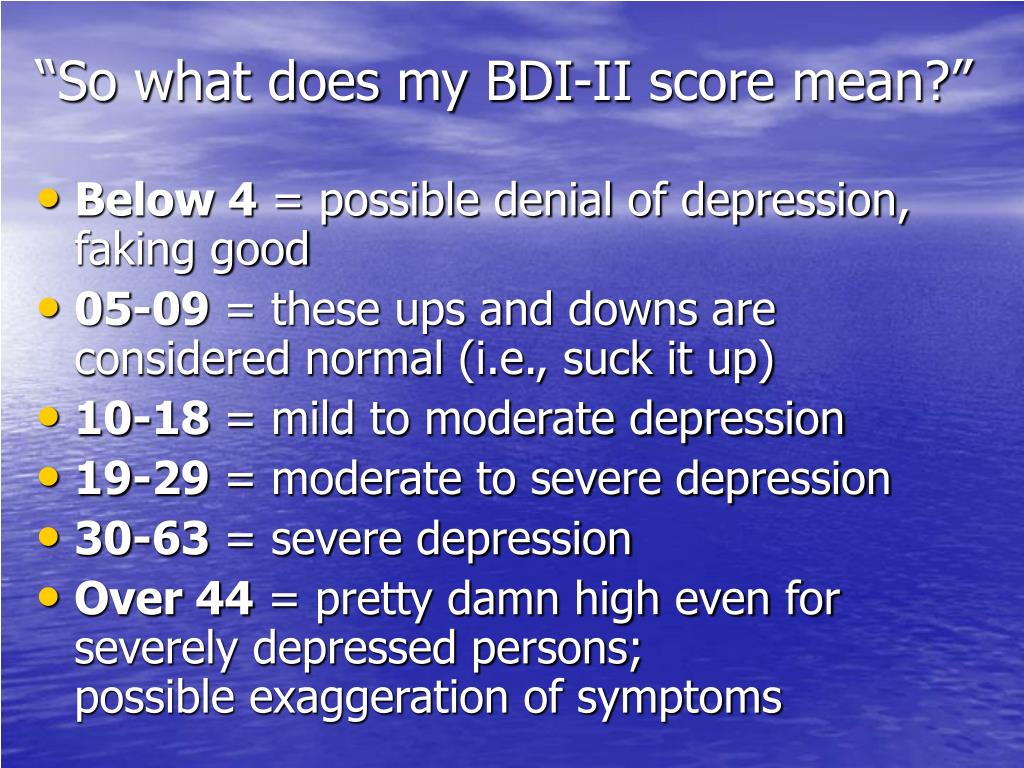 """""""So what does my BDI-II score mean?"""""""