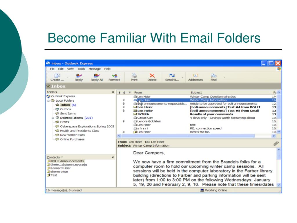 Become Familiar With Email Folders