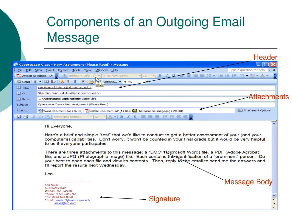Components of an Outgoing Email Message