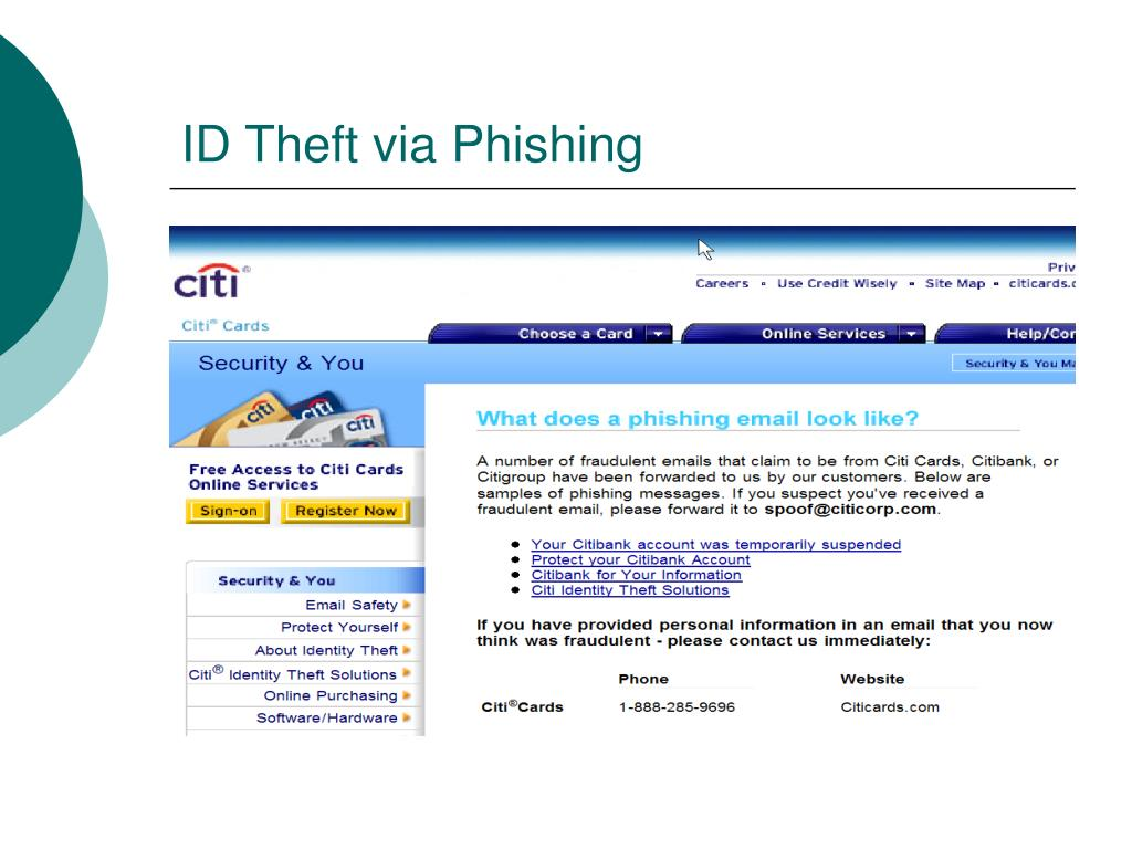 ID Theft via Phishing