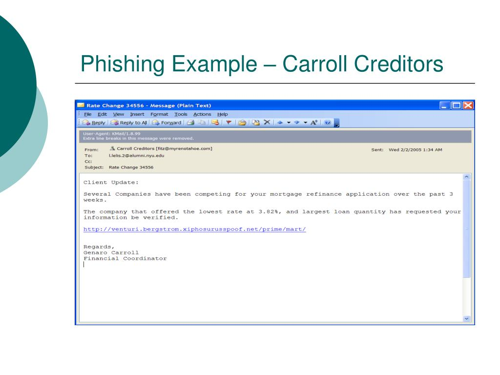 Phishing Example – Carroll Creditors