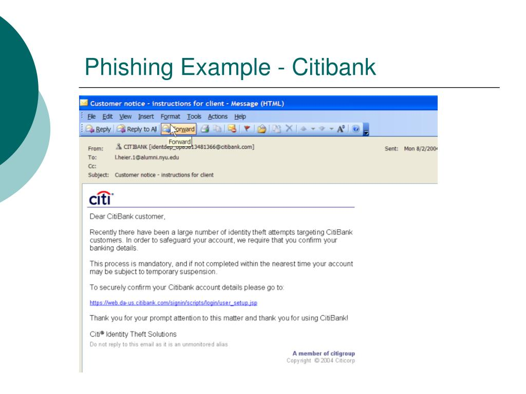 Phishing Example - Citibank