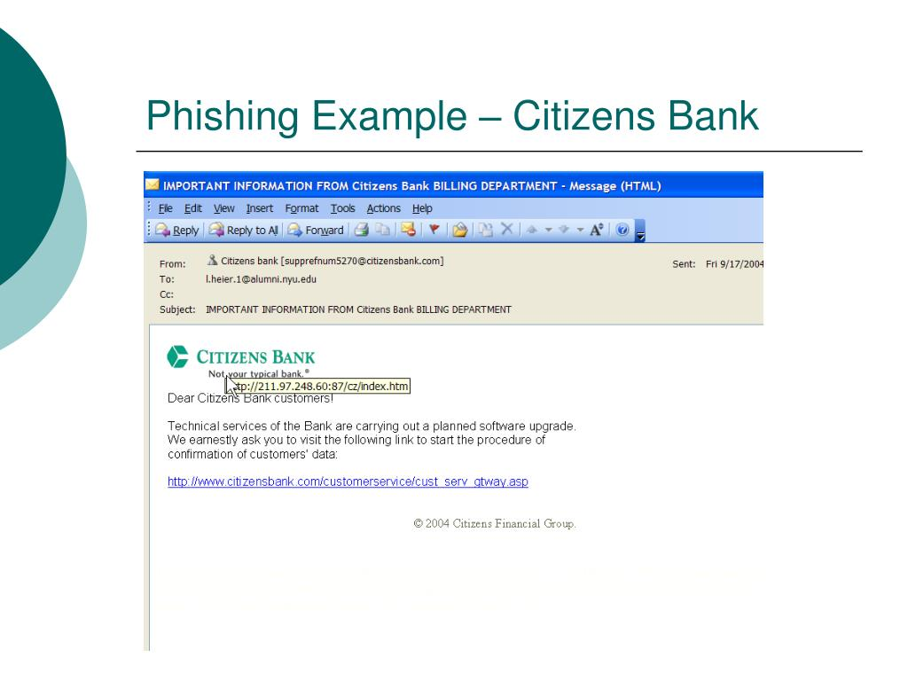 Phishing Example – Citizens Bank