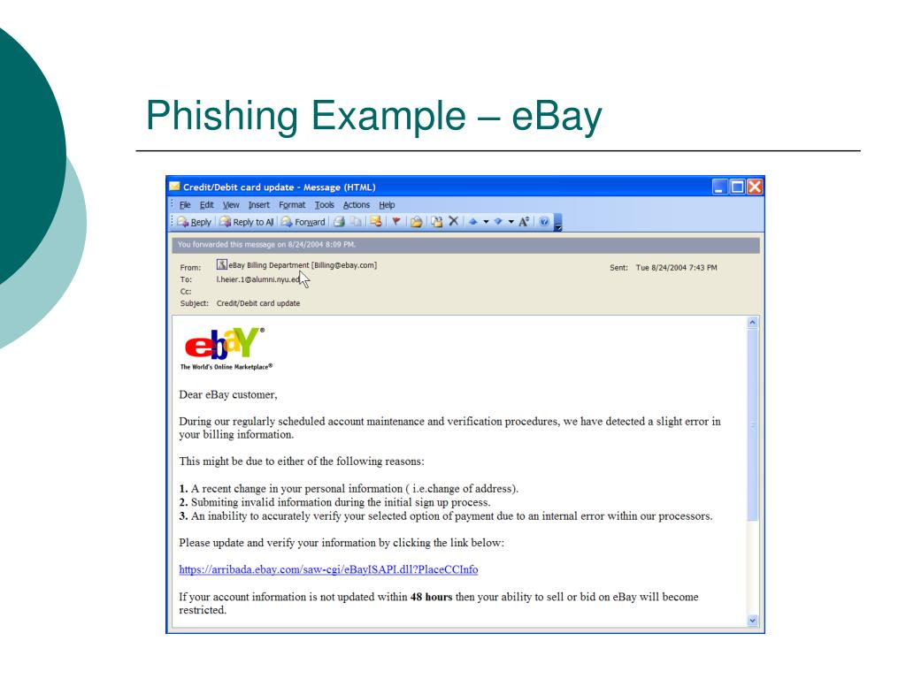 Phishing Example – eBay