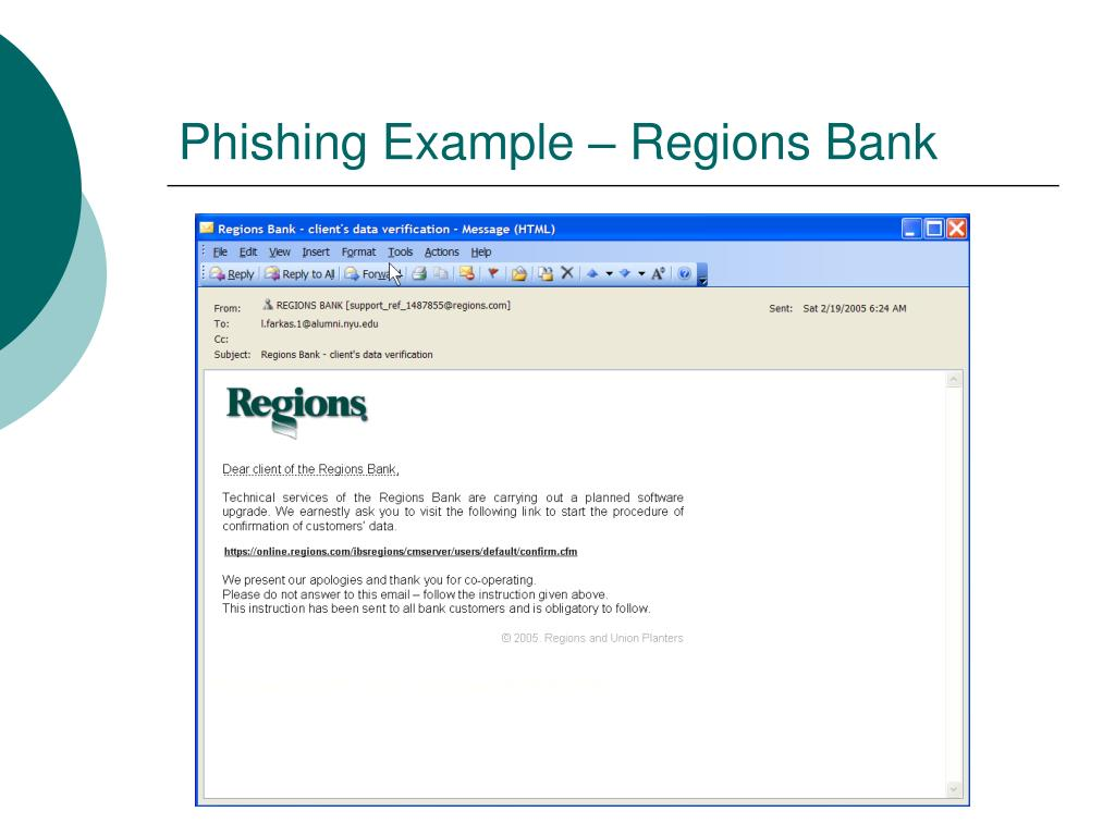 Phishing Example – Regions Bank
