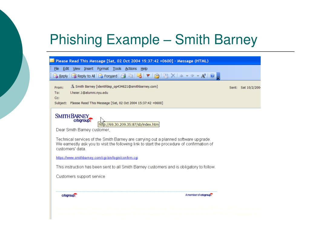 Phishing Example – Smith Barney