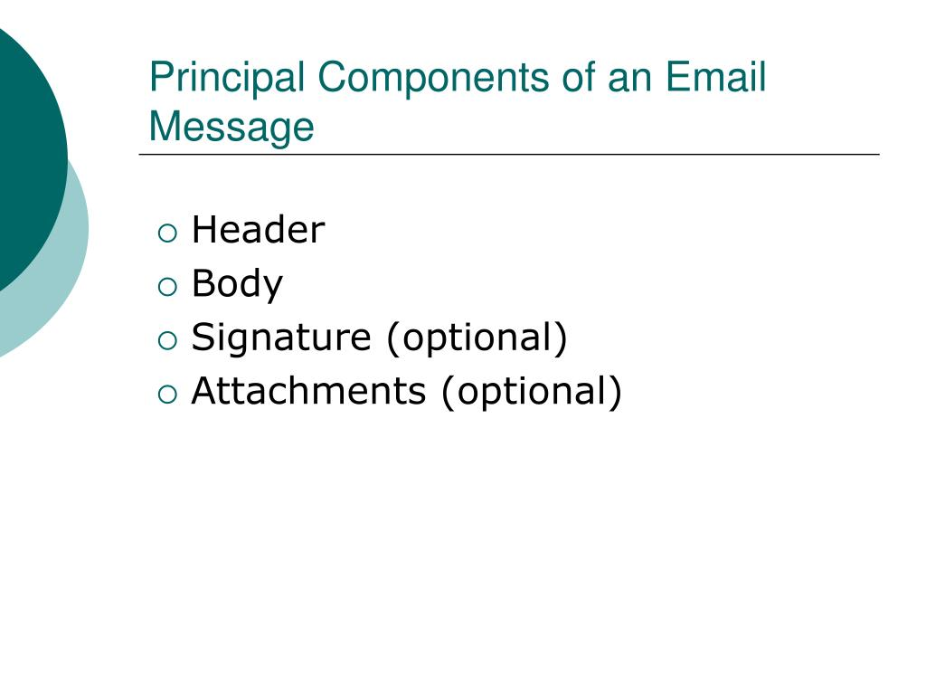Principal Components of an Email Message