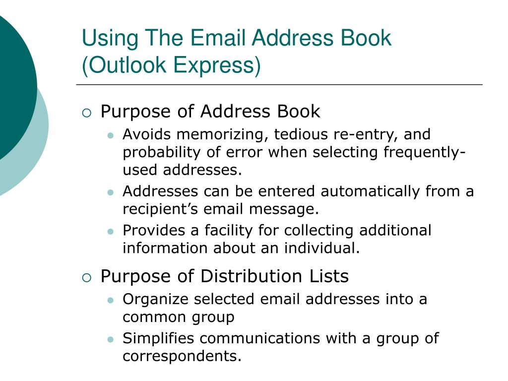 Using The Email Address Book (Outlook Express)