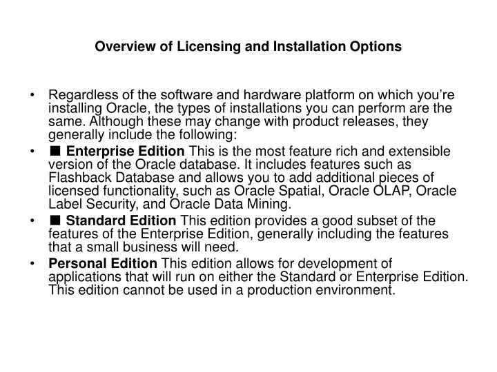 Overview of licensing and installation options