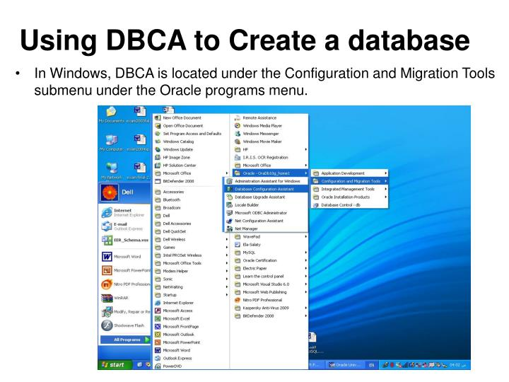 Using DBCA to Create a database