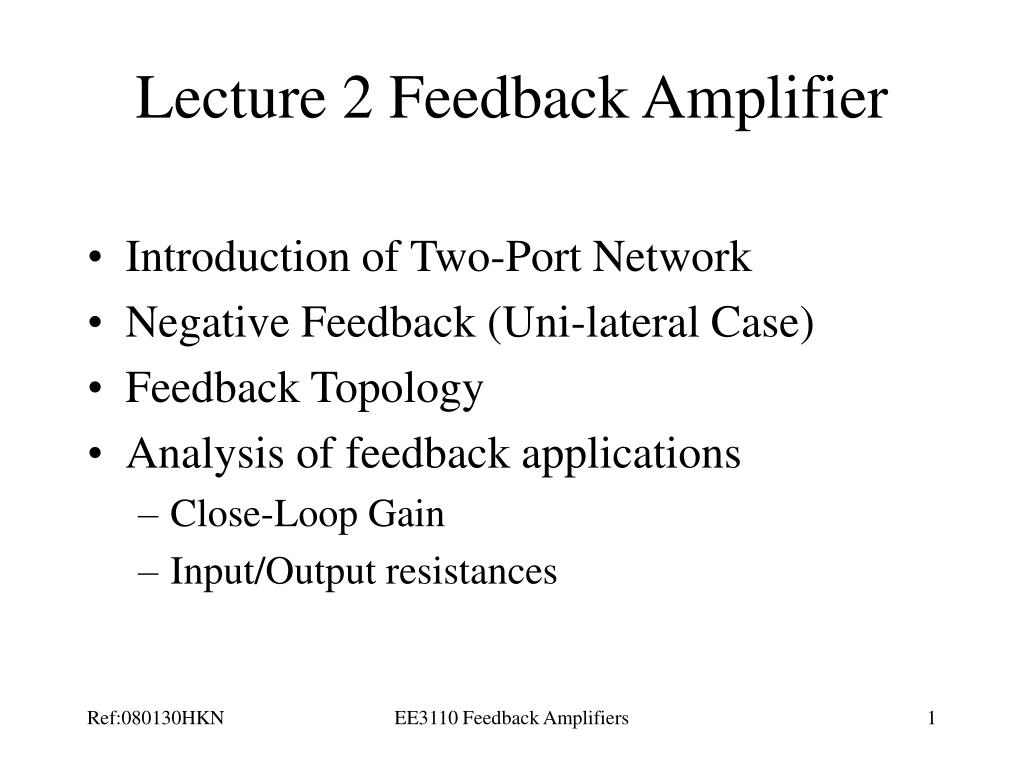 lecture 2 feedback amplifier l.