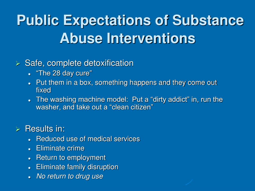 Public Expectations of Substance Abuse Interventions