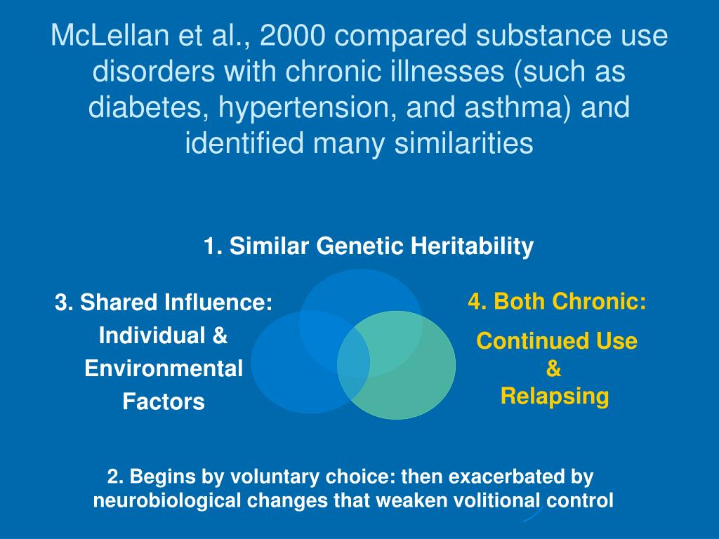 McLellan et al., 2000 compared substance use disorders with chronic illnesses (such as diabetes, hypertension, and asthma) and identified many similarities
