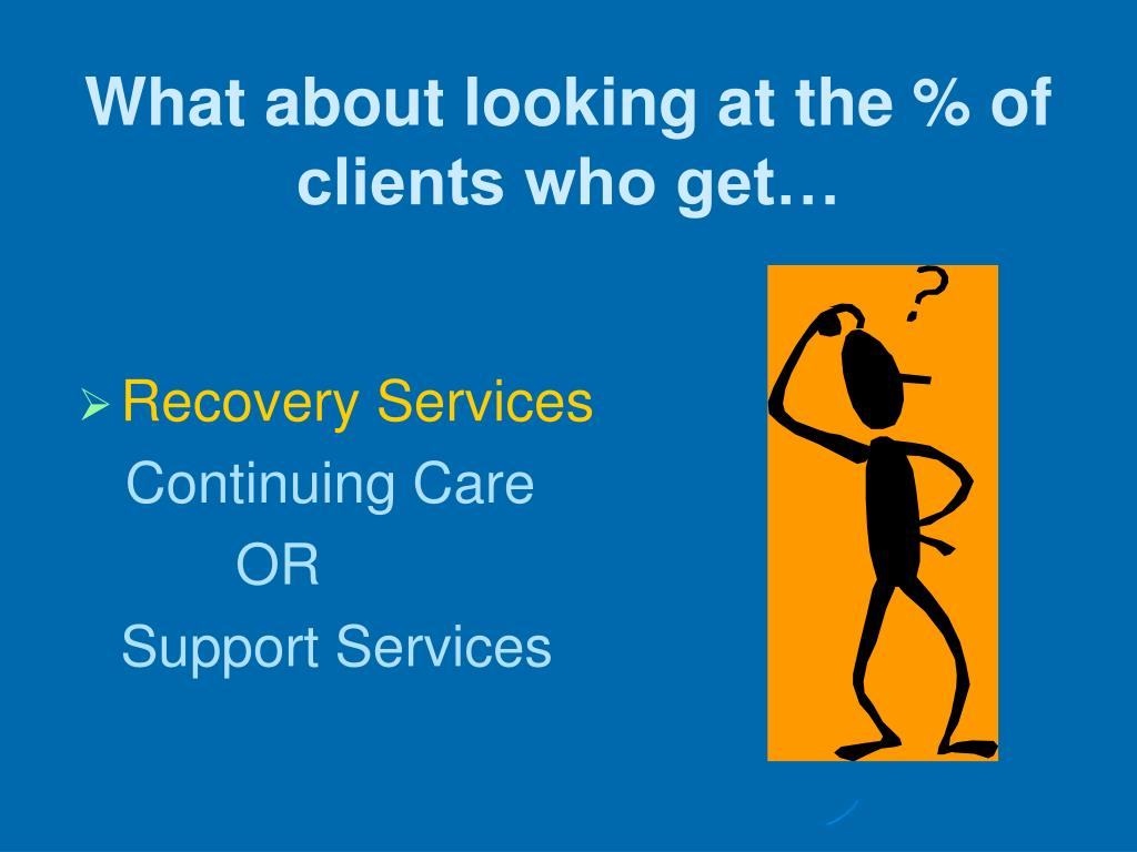 What about looking at the % of clients who get…