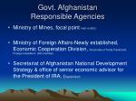 govt afghanistan responsible agencies