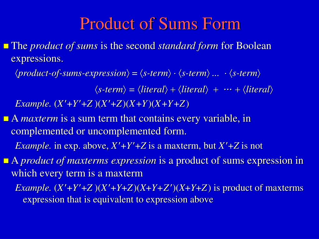 Product of Sums Form
