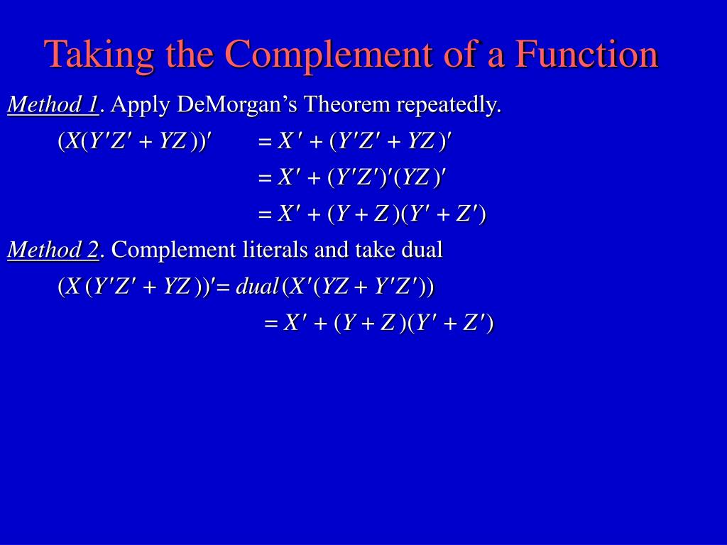 Taking the Complement of a Function