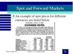 spot and forward markets12