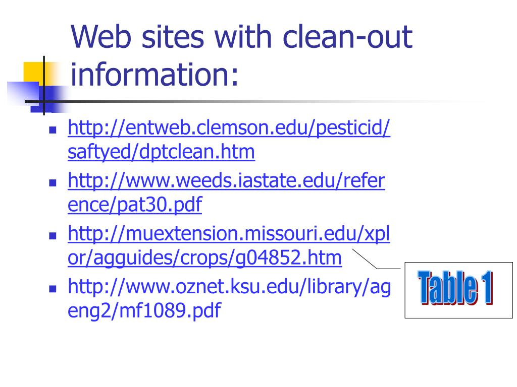 Web sites with clean-out information: