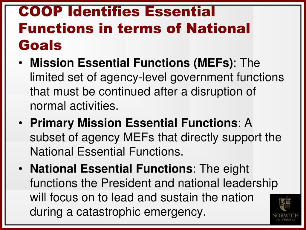 COOP Identifies Essential Functions in terms of National  Goals