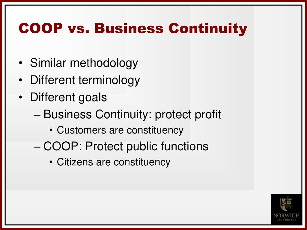 COOP vs. Business Continuity